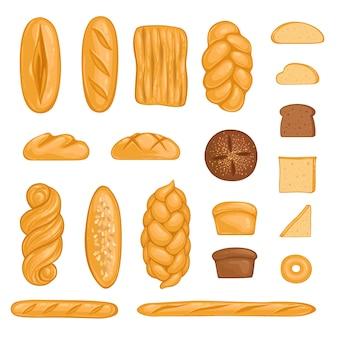 Zestaw produktów piekarniczych. chleb, bochenek, hala, bagietka i chleb żytni w stylu cartoon.