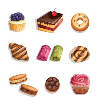 Zestaw produktów piekarniczych ikony i elementy