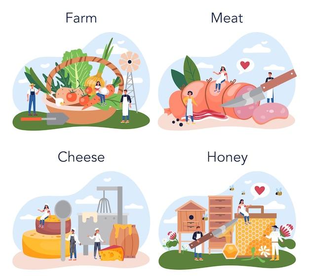 Zestaw produktów rolnych. rolnicza produkcja żywności. wiejskie artykuły spożywcze. produkcja rolnicza. mięso, ser i miód. ilustracja na białym tle płaski
