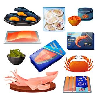 Zestaw produktów z owoców morza