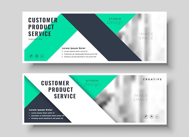 Zestaw profesjonalnych banerów geometrycznych turkus biznesowych
