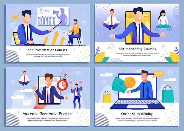 Zestaw profesjonalnych banerów online szkolenia biznesowe