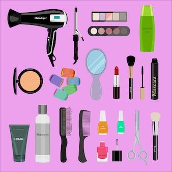 Zestaw profesjonalnych kosmetyków, różne przybory i produkty kosmetyczne: suszarka do włosów, lusterko, pędzle do makijażu, cienie, szminki, lakiery do paznokci, kremy, puder, nożyczki, grzebienie itp. ilustracja płaska