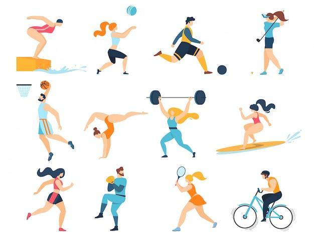 Zestaw profesjonalnych zajęć sportowych. mężczyźni kobiety sportowcy postacie trening na białym tle