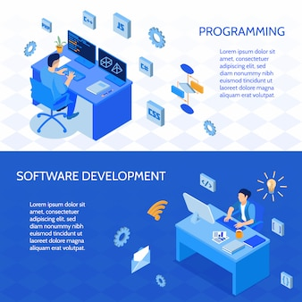 Zestaw programistów poziomych banerów izometrycznych podczas kodowania i rozwoju izolowanego oprogramowania
