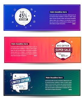 Zestaw projekt banerów sprzedaż. ilustracji wektorowych