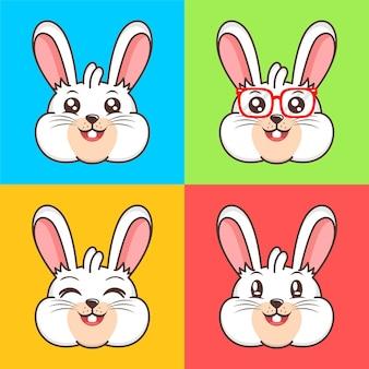 Zestaw projekt ikona ilustracja kreskówka ładny króliczek