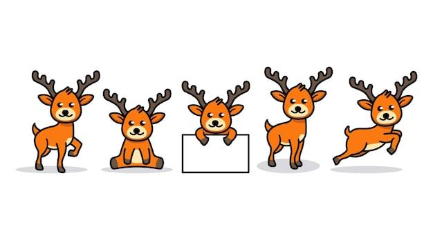 Zestaw projekt maskotki zwierząt słodkie dziecko jelenie