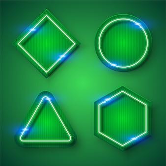 Zestaw projekt zielony neon ramki