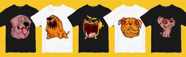 Zestaw projektów koszulek z potwornym psem, kolekcja zabawnych i przerażających kreskówek