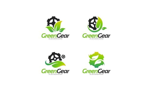 Zestaw projektów logo green gear. szablon logo zielonej technologii projektuje koncepcję