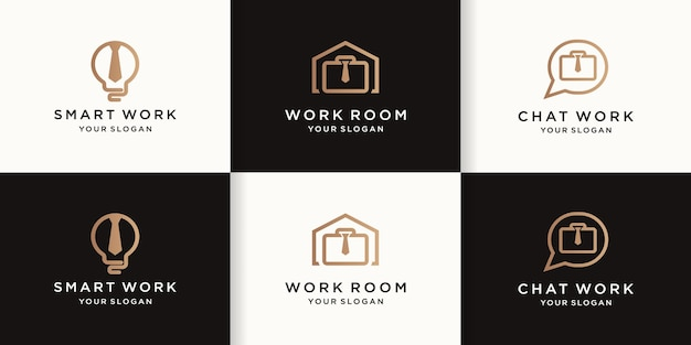 Zestaw projektów logo pracy z prostymi liniami