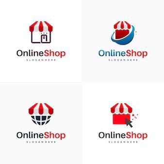 Zestaw projektów logo sklepu internetowego wektor koncepcyjny, projekty logo sklepu internetowego