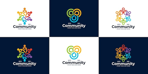 Zestaw projektów logo społeczności dla zespołów i grup