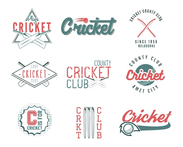 Zestaw projektów logo szablonów sportu retro krykieta. używaj jako ikon, odznak, etykiet, emblematów lub druku. mistrzostwa sportowe ilustracji wektorowych. na białym tle.
