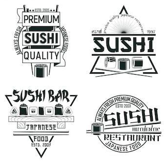 Zestaw projektów logo vintage sushi bar, znaczków z nadrukiem folwarcznym, kreatywnych emblematów typografii japońskiej żywności,