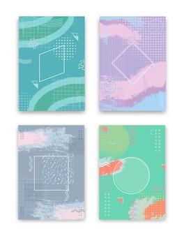 Zestaw projektów okładek. koncepcja kreatywnych streszczenie geometryczny wzór, kolorowe tło memphis.