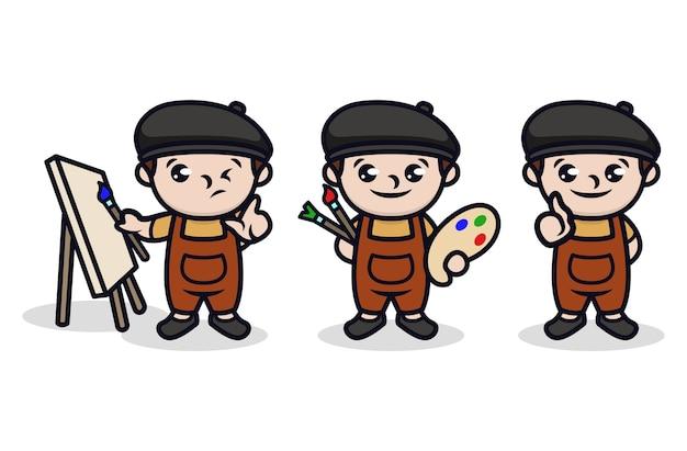 Zestaw projektowania dla dzieci ładny malarz