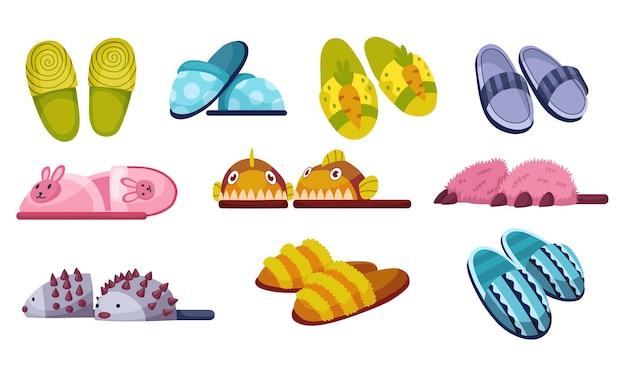 Zestaw projektowania ilustracji kapcie obuwia domowego