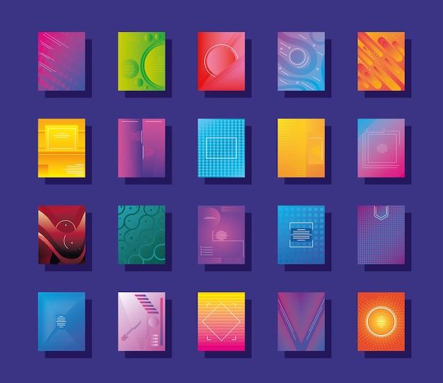 Zestaw projektowania ilustracji kolorowych streszczeń
