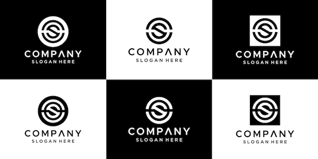 Zestaw projektowania logo cs streszczenie litery.