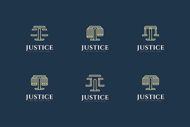 Zestaw projektowania logo firmy prawniczej w stylu linii