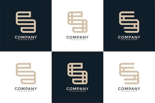 Zestaw projektowania logo kreatywnych monogram litery s