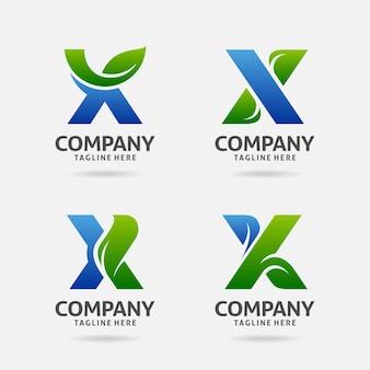 Zestaw projektowania logo liść litera x.