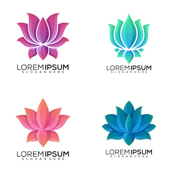 Zestaw projektowania logo lotosu