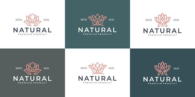 Zestaw projektowania logo luksusowego kwiatu linii sztuki