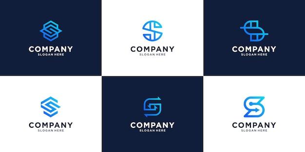Zestaw projektowania logo początkowej litery s.