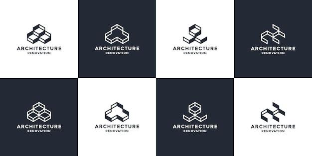 Zestaw projektowania logo streszczenie nieruchomości. koncepcja pudełka dla inteligentnego architekta