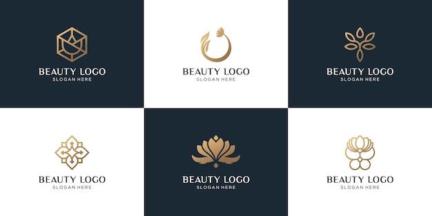 Zestaw projektowania logo streszczenie złoty kwiat
