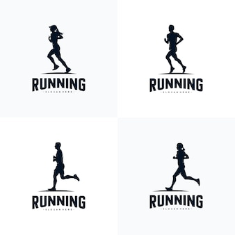 Zestaw projektowania logo sylwetki do biegania
