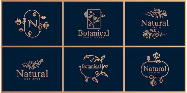 Zestaw projektowania logo sztuki linii botanicznej