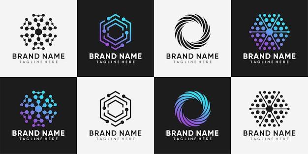 Zestaw projektowania logo technologii z kreatywną koncepcją