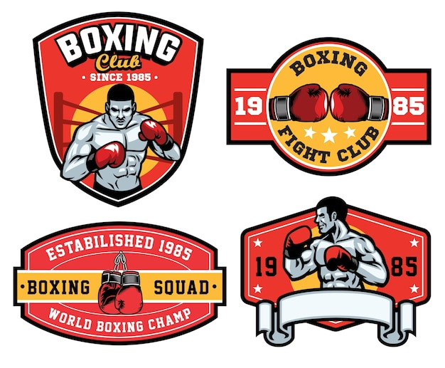 Zestaw projektowania odznak boksu na białym tle