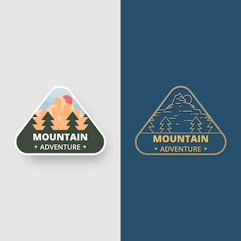 Zestaw projektowania odznak krajobrazu. godło logo przygody górskiej w płaskiej konstrukcji. ilustracja logo.