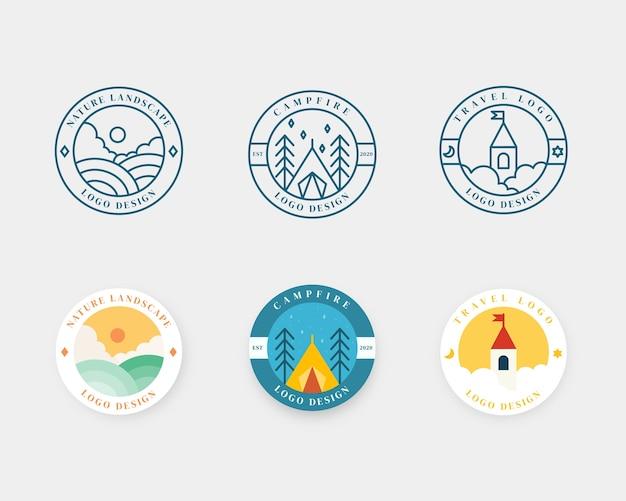 Zestaw projektowania odznak krajobrazu. godło logo przygody i podróży w płaskiej konstrukcji. logotyp