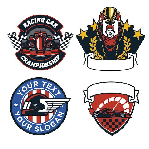 Zestaw projektowania odznak wyścigu samochodów formuły