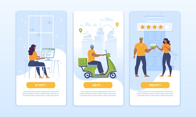 Zestaw projektowy aplikacji mobilnej strona główna dostawy żywności
