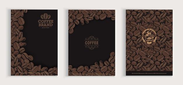 Zestaw projektowy okładki ziaren kawy