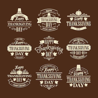 Zestaw projektowy typograficzne dziękczynienia. ilustracja wektorowa eps 10