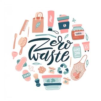 Zestaw projektowy zero waste. brak koncepcji plastic and go green w kształcie koła. eco styl życia rzeczy kolekcja znak i symbol.