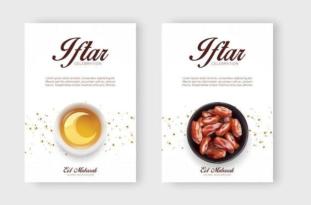 Zestaw projektu banera promocyjnego ramadan kareem iftar party