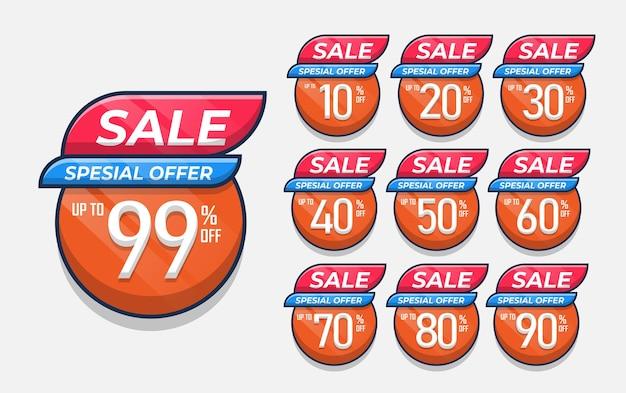 Zestaw projektu ceny sprzedaży ze zniżką