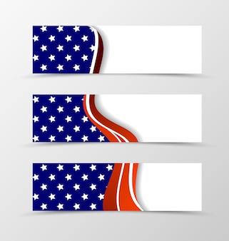 Zestaw projektu fali banera nagłówka z białymi gwiazdami i czerwonymi liniami w kolorze niebieskim i jasnym stylu.