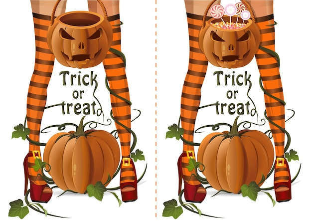 Zestaw projektu halloween. zbliżenie sexy czarownica nogi na tle dyni. seksowna wiedźma z torbą jack o lantern z cukierkami lollipops i pustym koszem halloween. cukierek albo psikus. ilustracja wektorowa