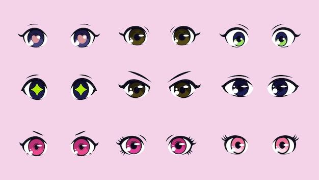 Zestaw projektu ilustracji anime oczy