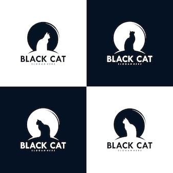 Zestaw projektu logo czarnego kota